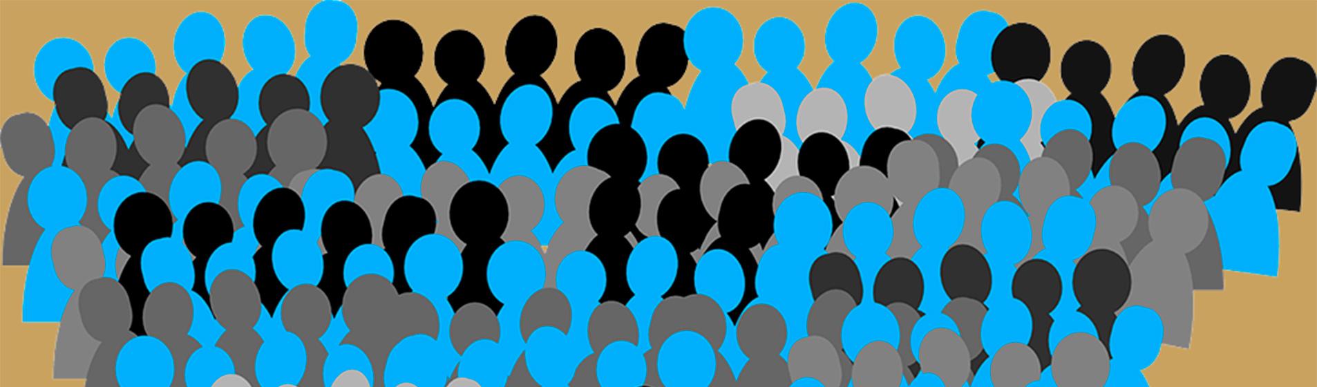 Siluetas simulando una multitud de gente