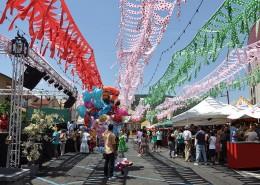 Calle de Moralzarzal llena de farolillos y casetas