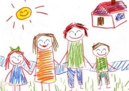 Dibujo infantil de una familia y una casita al fondo