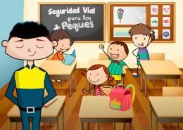 Ilustración de unos niños en una clase de educación vial