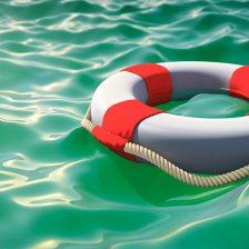 Un salvavidas en el agua