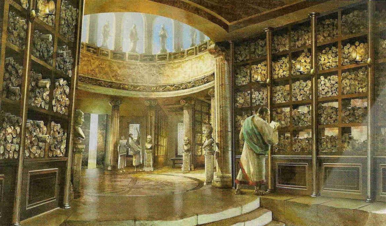 Imágen del interior de la antigua Biblioteca de Alejandría