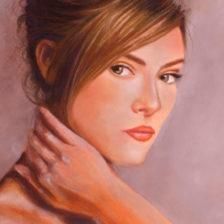 Detalle del retrato de una mujer joven, obra de Antonia Contra
