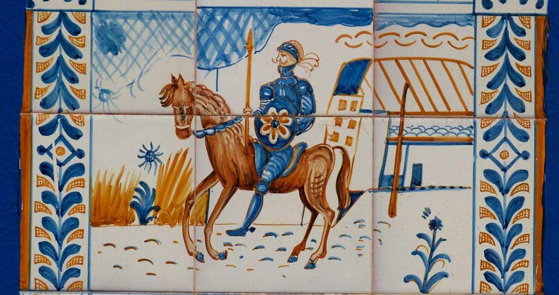 Ilustración del Quijote sobre azulejos