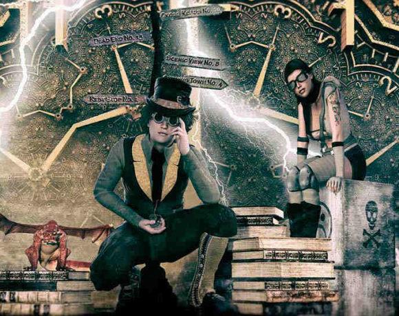 Ilustración de dos personajes de ciencia ficción sentados sobre libros