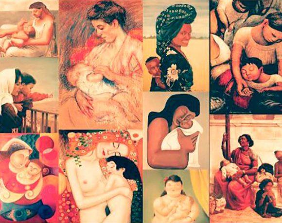 Collage de cuadros de madres con sus hijos