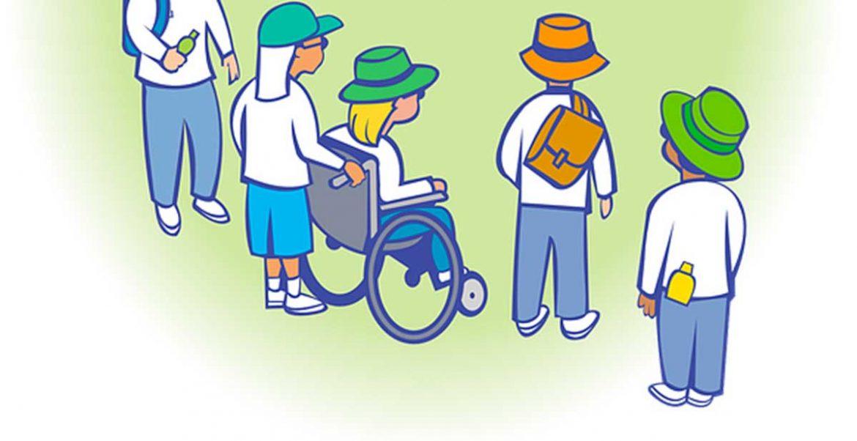 Ilustración de un grupo de niños, uno de ellos en silla de ruedas