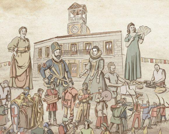 Ilustración del evento con el fondo de l Ayuntamiento de Moralzarzal
