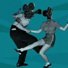 Cartel de MoralCine: una pareja bailando. Sus cabezas son cámaras de cine