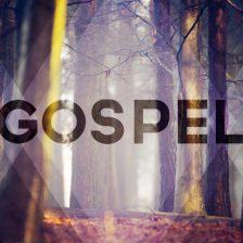 La palabra gospel sobre un fondo de bosque