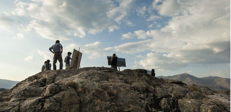 Personas pintando cuadros en la Sierra del Guadarrama