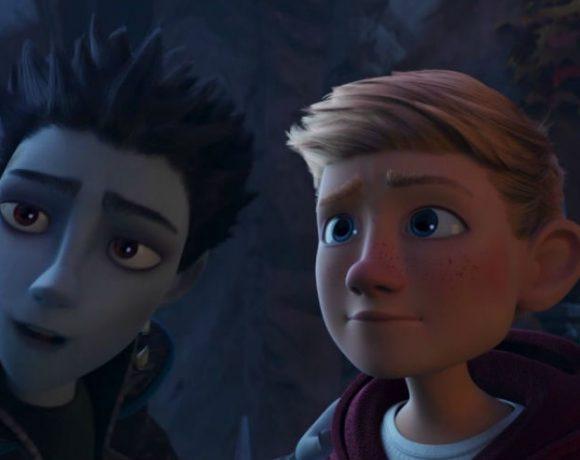 Imagen de una película de animación con dos chicos hablando