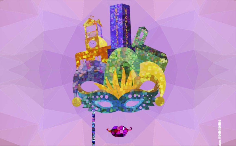 Ilustración de una Máscara de Carnaval construida con edificios de Moralzarzal