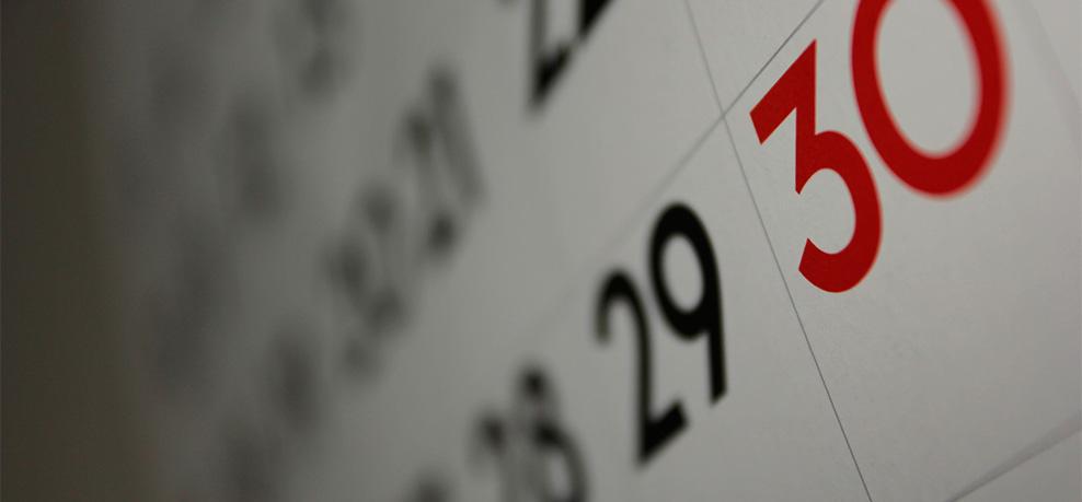 Días del mes en un calendario