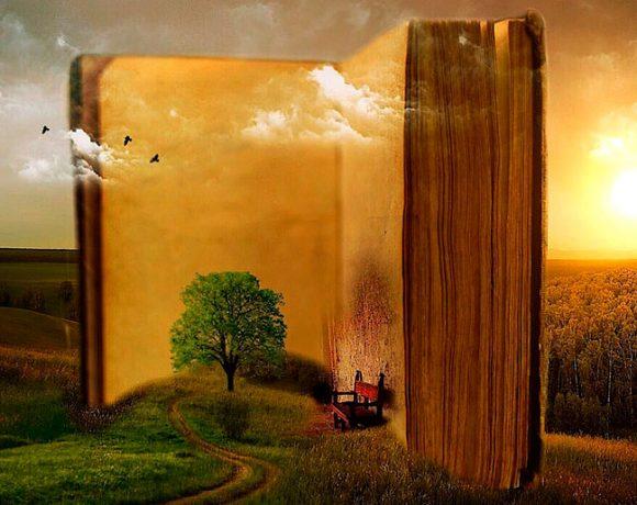 Ilustración onírica de un libro abierto