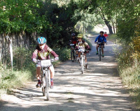 Unos niños montando en bicicleta por el campo
