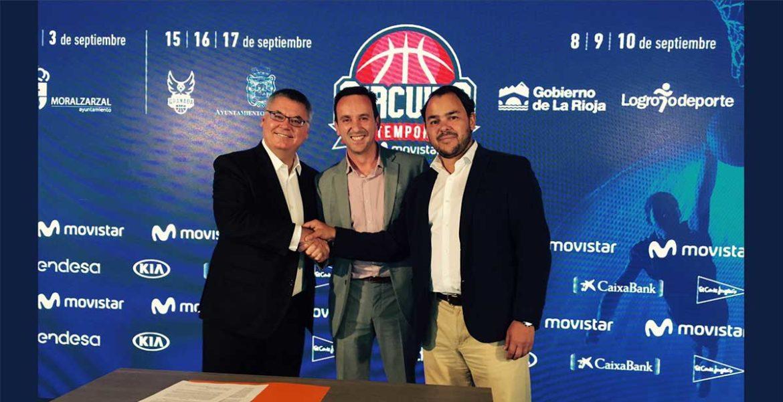 El alcalde de Moralzarzal en la firma entre el presidente de la ACB y el responsable de patrocinios de Movistar