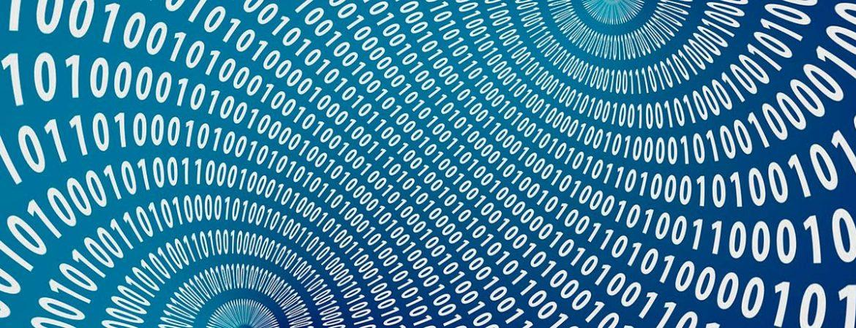 Código binario sobre fondo azul