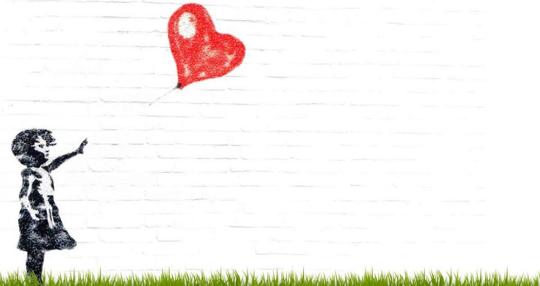 Ilustración de una niña que suelta un globo con forma de corazón