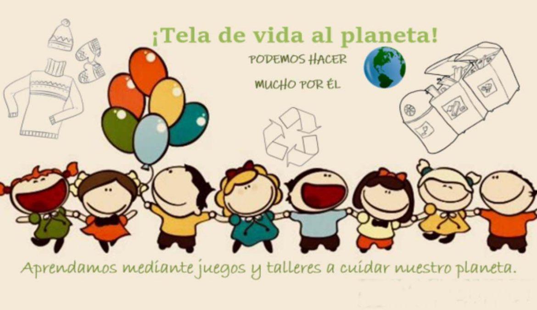 Ilustración con unos niños reciclando