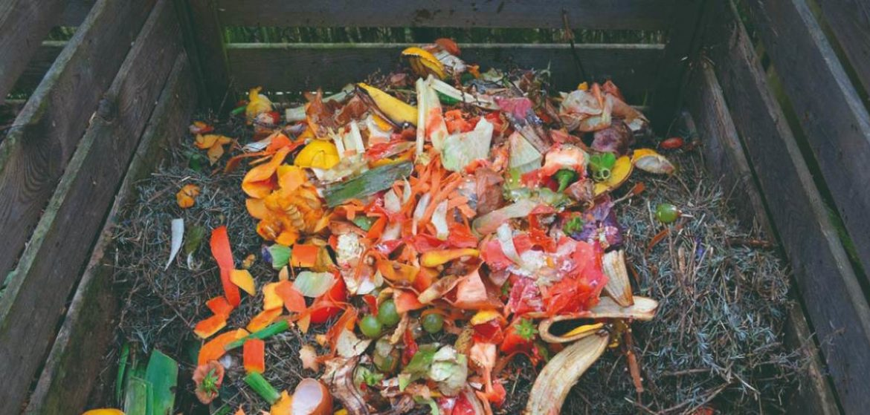 Una compostera con residuos orgánicos