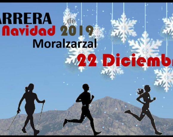 cartel de la carrera de navidad de Moralzarzal 2019 con silueta de corredores