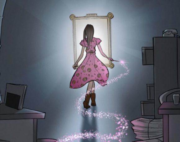 Ilustración de una chica frente a un espejo
