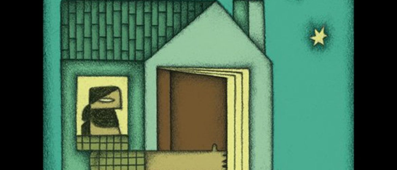 Ilustración de una casa verde con Pep Bruno dentro