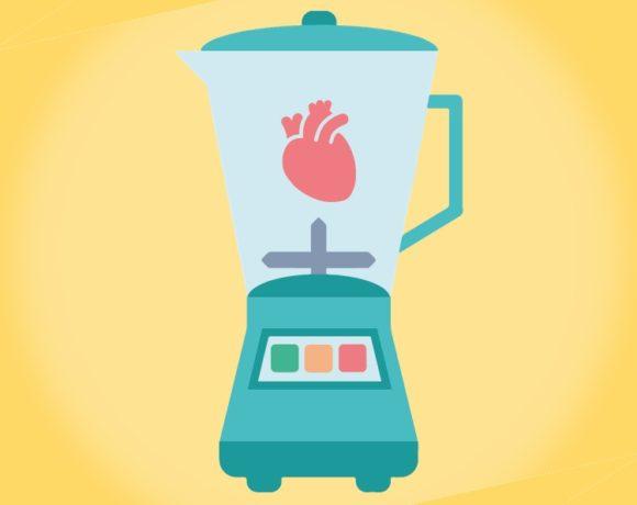 Ilustración de una batidora con un corazón dentro