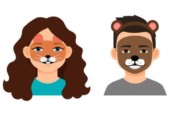 Ilustración con cuatro niños con las caras disfrazadas