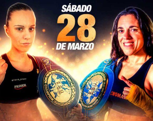Cartel del combate Pastrana - Díaz, con ambas púgiles