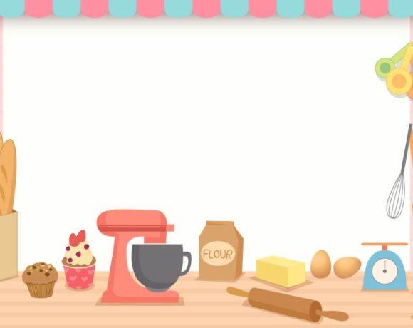 Ilustración de alimentos en una cocina