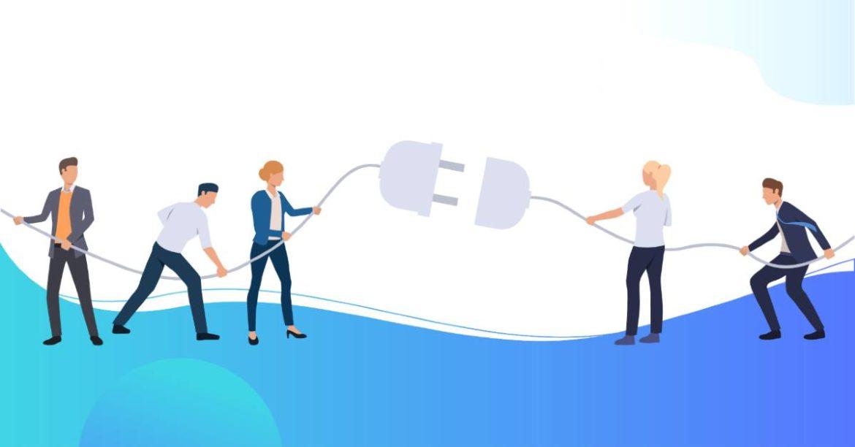 Ilustración de personas conectando un enchufe gigante