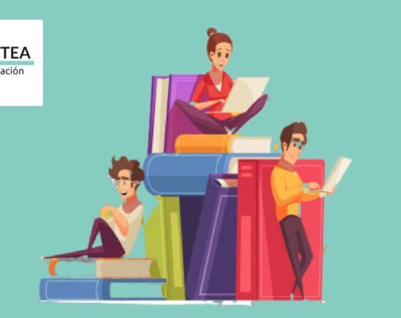 Ilustracioón de unas personas estudiando encima de unos libros