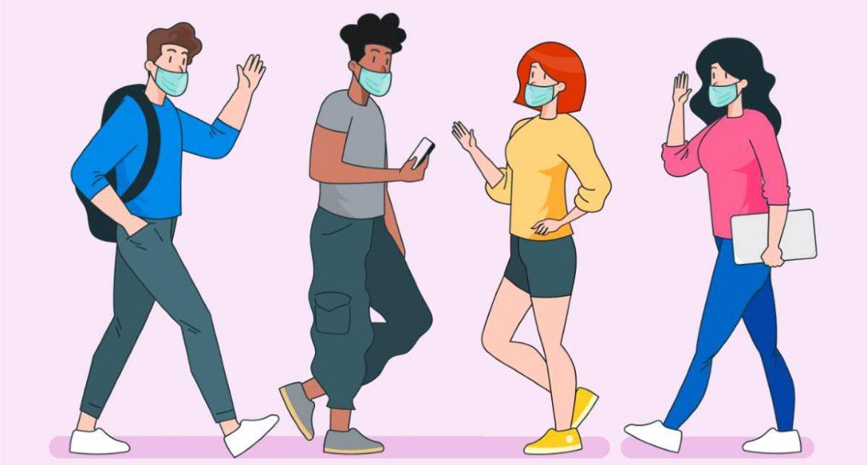 Ilustración de personas caminando con mascarillas