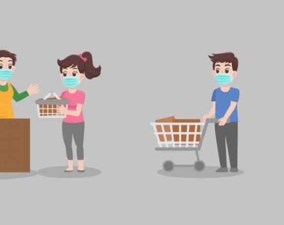 Ilustración de la distancia social en una tienda