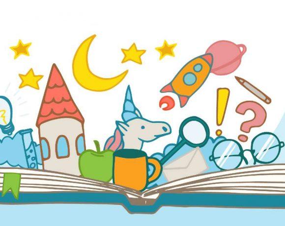 Ilustración de un libro abierto con elementos de cuento