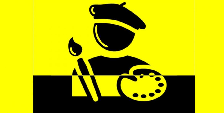 Icono cultural en negro y amarillo