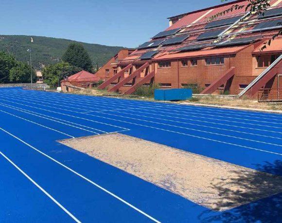 Detalle de la pista de atletismo de Moralzarzal