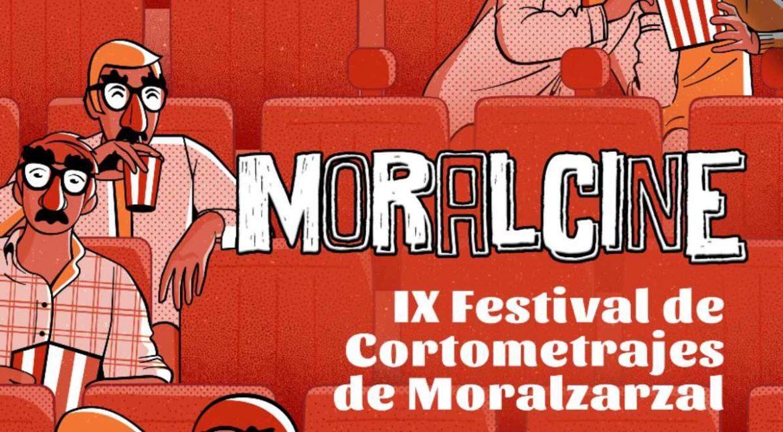 Cartel de MoralCine con una ilustración de gente en un cine con caretas de Groucho
