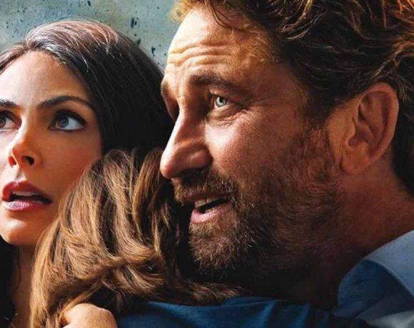 Imagen de la película Greenland con dos adultos y un niño
