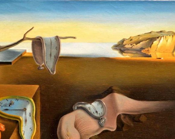 Paisaje de Dalí con relojes flexibles