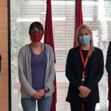 El alcalde de Moralzarzal la concejal de Bienestar Socia y los directivos de Cruz Roja