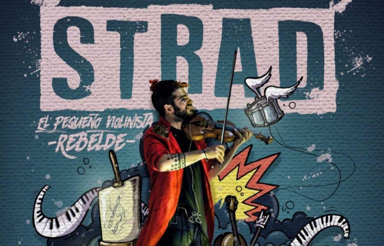Strad toca el violín delante de un grafiti