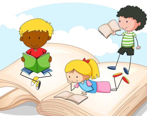 Ilustración de tres peques leyendo sobre un libro gigante