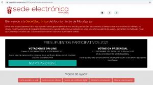 Pantallazo de la sede electrónica del Ayuntamiento de Moralzarzal